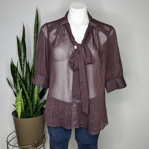 French Connection purple & silver tie blouse L